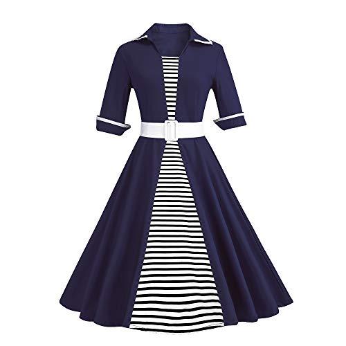 Yieks Damen Vintage Marine Kleid mit Gürtel, Marinenblau Gr. 38