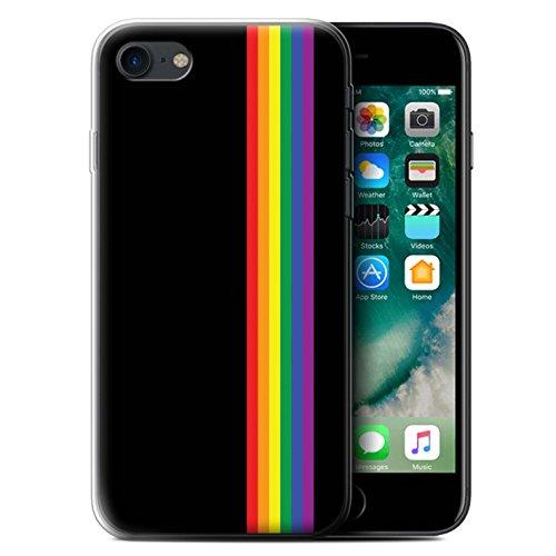 Stuff4 Custodia/Cover/Caso/Cassa Gel/TPU/Prottetiva Stampata con Il Disegno Arte LGBT Gay Pride per Apple iPhone 7 - Strisce Uguaglianza