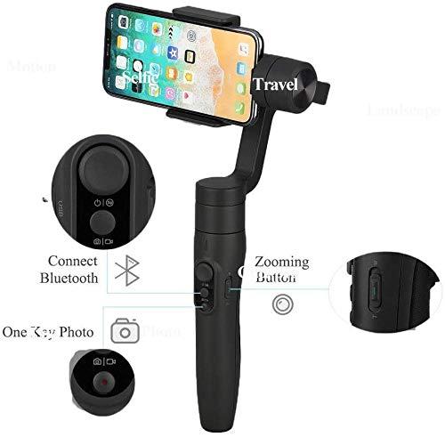 FeiyuTech Vimble 2S Estabilizador para Móvil, Gimbal Móvil Xiaomi 3-Ejes, para iPhone Samsung Huawei Xiaomi Realme etc, Poste de Extensión de 18 cm Incorporado, Carga útil 200G