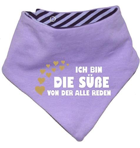 KLEINER FRATZ Kleiner Fratz Kinder Wendehalstuch uni/gestreift (Farbe flieder-pflaume (Gr. 1 (0-74)) Ich bin die Süße von der alle reden