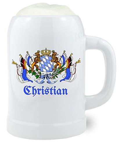 Bavariashop Bierkrug mit Wunschgravur, Individueller Wunschname, 0.5 Liter, Steinkrug, zünftige Geschenkidee aus Bayern