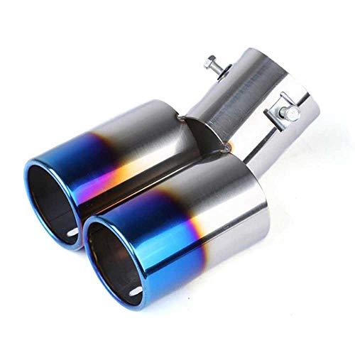 XQRYUB Universal Car One Change Two Double out Tubo de Escape de Acero Inoxidable Silenciador Boquilla de Salida del Tubo de Cola, Adecuado para la mayoría de los Modelos