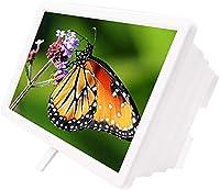 10インチの電話スクリーンの拡大鏡、3D HDの電話スクリーンアンプの拡大折りたたみ式スタンドホルダー、すべてのスマートフォン、モバイル拡大画面、H052Zjの映画を見るためのユニバーサル携帯電話プロジェクター -S (Color : WHITE, Size : 10IN)