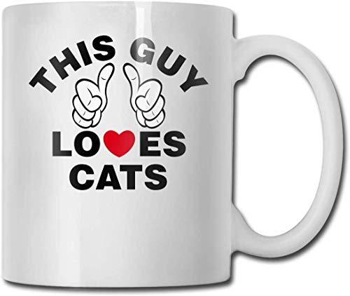 Este niño ama a los gatos tazas de café personalizadas/taza de té de cerámica de 11 onzas – Regalo novedad.