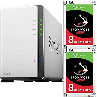 Synology DS220j 2-Bay DiskStation Bundle with 16TB (2x8TB) of Seagate Ironwolf NAS Drives Fully Assembled and Tested by CustomTechSales