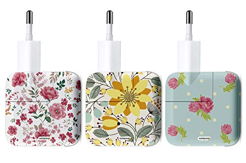 Oedim Pack de 3 Pegatinas Floral AddPeel para Cargadores compatibles | Apple | iPhone | iPad | Watch | No Pierdas más tu Cargador Personalízalo