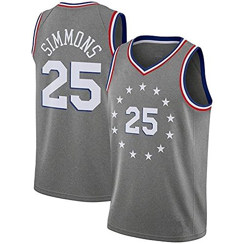 # 25 Simmons 76ers Sports Basketball Jersey Atmungsaktive Jersey Weste Unisex Ärmelloses T-Shirt L Grau