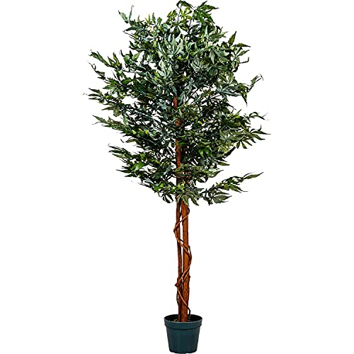PLANTASIA® Marihuana-Strauch, Echtholzstamm, Kunstbaum, Kunstpflanze - 150 cm, Schadstoffgeprüft