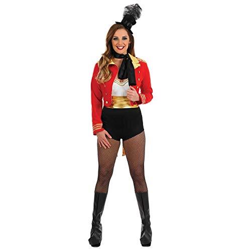 Fun Shack Disfraz de Maestra de Ceremonias para Mujer. Conjunto Rojo de Adulto de Maestro de Ceremonias circense para Carnaval, Talla L