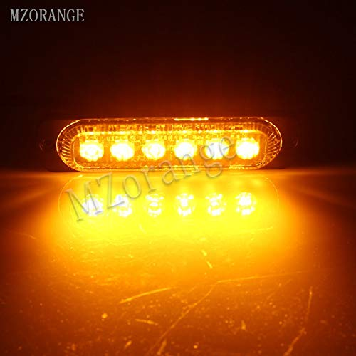 Generic MZORANGE 12V-24V 19 Patterns Led Strobe Warning Light Strobe Grille Flashing Lightbar Truck Car Beacon Lamp Amber Traffic light Emitting Color Amber Color Temperature 4 Pieces