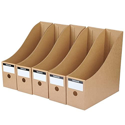 5pcs Caja de Almacenamiento de Escritorio de Kraft con Etiqueta,Organizador de Documentos Papelería,Soporte de Documento,Archivador Almacenamiento Almacenaje Plegable de Archivo Periódico Revista