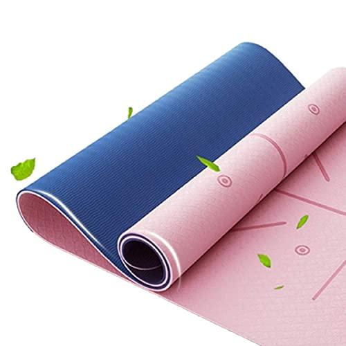 STEELMATES Gymnastikmatte, Fitnessmatte Yogamatte Gepolstert & Rutschfest für Fitness Pilates & Gymnastik mit Tragegurt-183 x 61 x 0,6cm (Rosa/Blau)