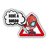 CUAC REVOLUTION Pegatina Bebe A Bordo Spiderman Vinilo Impreso para Coche Pegado Interior