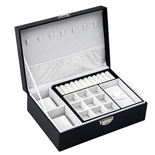 Caja portátil para el hogar, Caja de Almacenamiento de Joyas de Cuero de Dos Pisos, Estante para Collar (Negro)