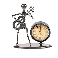 Classic Vintage Old Fashion Iron Art Musician Clock Figure Ornament for Home Office Desk Decoration Gift (C70 Guitar)