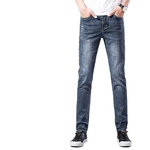Jeans para Hombres Verano Delgado Streetwear Trend Slim Stretch Casual All-Match Jeans 30
