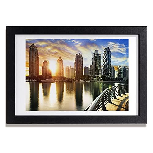 Tulup Imagen Impresión Pintura 30x20cm MDF Marco Cuadro Decoración de Pared Impresiones Póster Salón Cocina - Dubai puesta del sol Gafas de sol