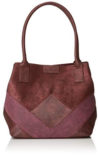 TOM TAILOR Shopper Damen Miri Geo, Rot (Wine), 17.5x28x43 cm,Tasche Damen