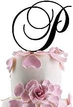 Monogram Inital Letter Acrylic Cake Topper Wedding A B C D E F G H I J K L M N O P Q R S T U V W X Y Z & (P, Black)