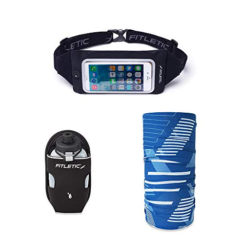 Fitletic Swipe Phone Running Belt, Blue Face Scarf & 8oz Black Cap Water Bottle Gift Pack, Fits iPhone 11 Pro Max & Plus Series, Galaxy S10 Plus, Fanny Pack, Cycling, Jogging, Fitness, or Travel