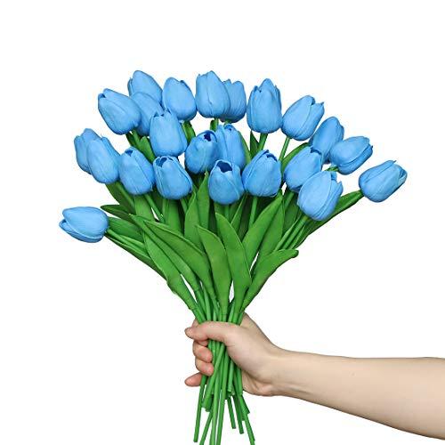 Anaoo 24pcs Flores de Tulipanes Artificiales de Látex, Floras Falsas Pero de Tacto Real Decoración para Banquete de Boda, Hogar, Fiestas, Jardín, Partido del Hotel, Azul