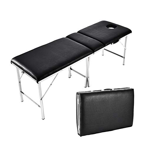 Camilla de masaje portátil, plegable, cama de masaje portátil, 3 zonas de altura regulable, soporta hasta 250 kg, fácil de transportar, ergonómica, incluye bolsa 🔥