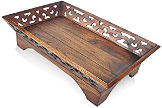 Fruit Plate, Hollow Wood Carving Dried Fruit Basket Fruit Dish Modern Creative Living Room Retro Chinese Style Solid Wood Fruit Bowl (Size : L)