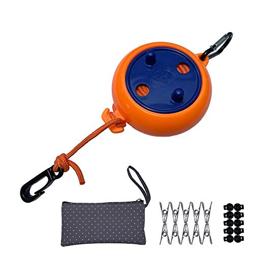 EAZZ 26 Feet Retractable Clothesline Outdoor Laundry Line - Portable Clothesline Set with Storage Bag10 Windproof Clips20 ClothespinsClotheslines for TravelCampingBackyardHotelOutdoorIndoor
