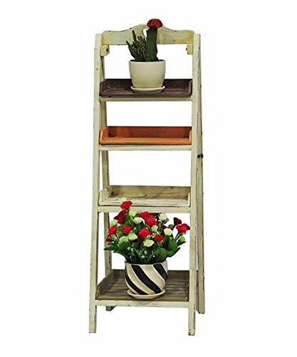 LX étagère à Fleurs Massivholz-Blumen-Racks Retro Kreativer Indoor-Balkon, der Vier Ebenen-Blumen-Topf-Zahnstange faltet Rack de Rangement Support de pots intérieur extéri