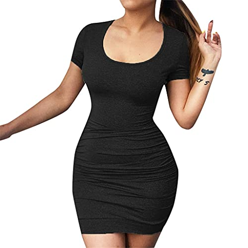 KIACIYA Vestito Y2K Aderente Donna Sexy Vestito Aderente A Pieghe Irregolare Estivi Senza Spalline Bodycon Mini Corti Fionda Natiche Ricche Elegante Casual Dress (black,L)