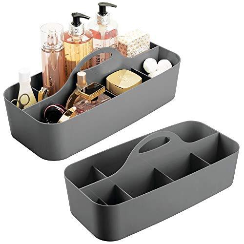 mDesign 2er-Set Badezimmer Korb mit Griff – als Kosmetik Organizer, Küchen Aufbewahrungsbox oder Handtuchhalter – kleine Bad Box aus robustem Kunststoff – anthrazit