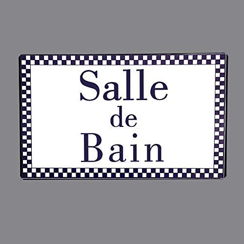 chemin_de_campagne Plaque de Porte Salle de Bain en Fer Blanc Entourage Vichy Bleu Rectangulaire 15 cm