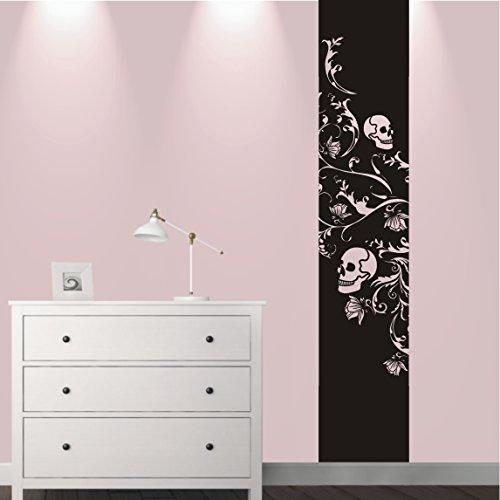 HomeTattoo ® WANDTATTOO Wandaufkleber Banner Barock Skull Totenkopf Ranke Blumen 508 XL ( L x B ) ca. 180 x 58 cm (schwarz 070)
