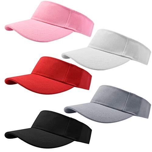 Marrywindix 5 Pieces Sport Wear Athletic Visor Sun Sports Visor Hat Visor Adjustable Cap for Women and Men