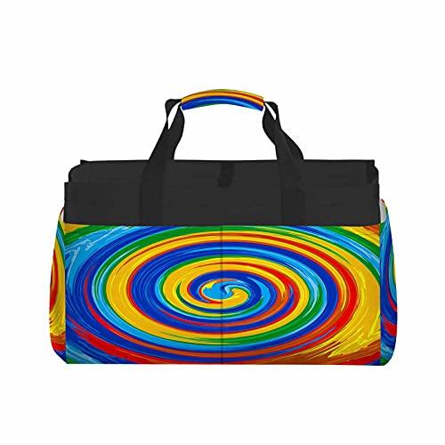 HOSNYE Swirl Rainbow Tote Bag Art Splash Color Circle Brush Paint Abstract Glossy Liquid Ink Fantasy Basket