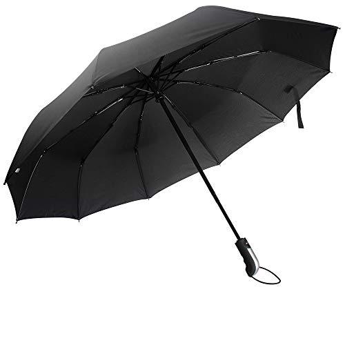 Paraguas automático Resistente al Viento Paraguas de Viaje Plegable con Apertura y Cierre automático Paraguas antiviento, Compacto y ligeroTejido (04-Bend Mango Negro)