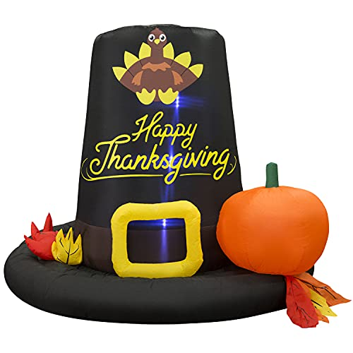 Holidayana Thanksgiving Pilgrim Hat Inflatable - 6 Ft Tall Thanksgiving Blowup Yard Decor with Fan, LED Lights, and Tie-Downs