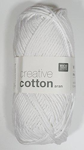 RICO CREATIVE COTTON ARAN HAND KNITTING YARN - 50g 80 White