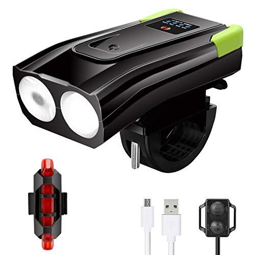 Luz Bicicleta Delantera y Trasera, Luces Bicicleta Potentes, Foco Bicicleta LED Alta Potencia, Luces para Bicicletas Impermeable, Linterna Bicicleta de 6 Modos Iluminación