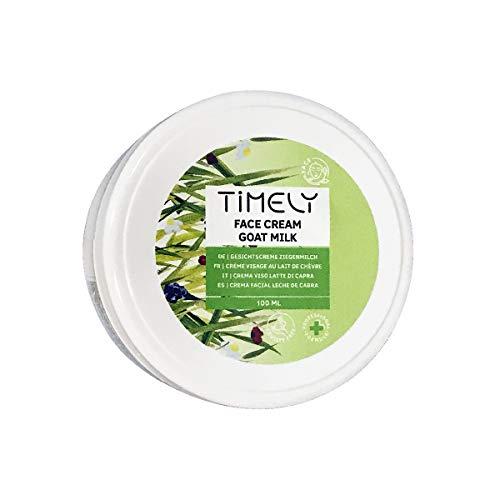Timely - Crème hydratante pour le visage au lait de chèvre avec vitamineE et protéines de lait, 100ml