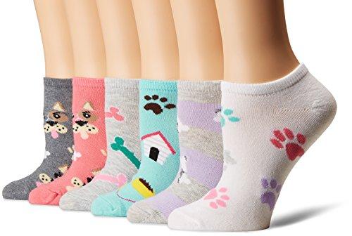 K. Bell Women's 6 Pack Novelty No Show Low Cut Socks, Dogs (Pink), Shoe Size: 4-10