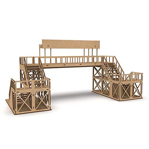 PROSCALE Puente peatonal maqueta 1:32 para Pistas de Slot, Kit de Madera para Montar DIY Compatible con circuitos Coches Scalextric, Ninco Slot, Scalextric Original, Carrera y ScaleAuto