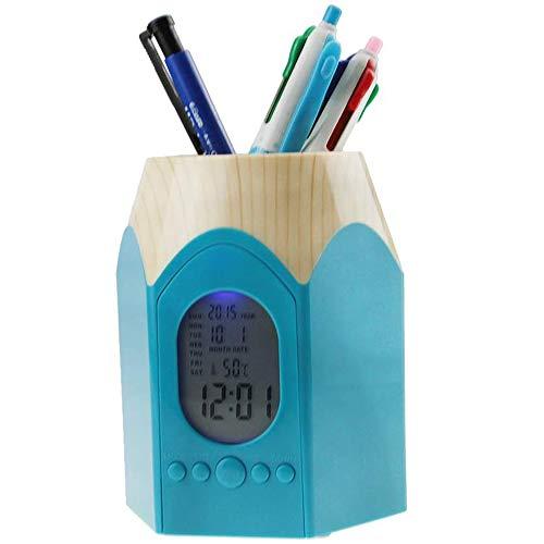 Alarmklok & kalender voor pennen Kunststof Houten Graan Pen Potlood Stub Houder Cup Stand Potlood Houder Container met Datum, Gebruiksvoorwerpen, Schaar, Multifunctionele Organizer voor Desktop Office