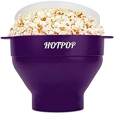 The Original Hotpop Microwave Popcorn Popper, Silicone Popcorn Maker, Collapsible Bowl Bpa Free and Dishwasher Safe- 17 Colors Available (Dark Orchid)