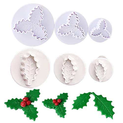 6Pcs/Set Christmas Holly Leaf Plunger Cutter, Holly Leaves Fondant Mold Cookie Cutter Christmas Party Cake Cupcake Gum Paste Sugar Craft Decorating Baking Tools
