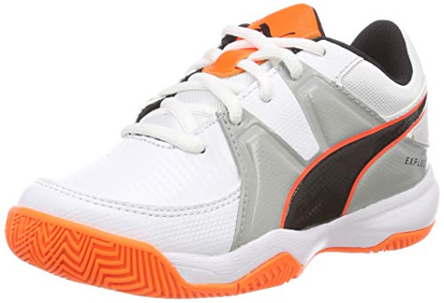 Puma Unisex-Kinder Explode 3 Jr Handballschuhe, Weiß White-Quarry-Shocking Orange, 31 EU