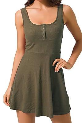 Chifave Women's Casual Sleeveless High Waist Slim Fit Flare Skater Mini Tank Dress