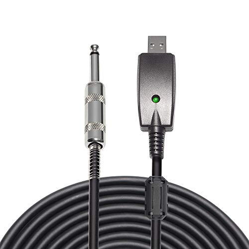 USB Guitar Cable, 10FT USB 2.0 Interface Male to 1/4 Inch TS Mono Jack Connector Cord, Electric Guitar Bass to PC USB Converter Cable Adapter for Instruments Recording Singing (Black)