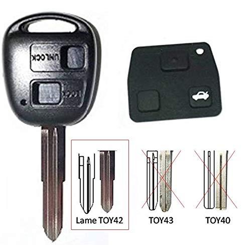 CLE-AUTO Coque clé générique compatible pour Toyota/Land Cruiser 2 Boutons Corolla, Celica, Rav4, Yaris Avensis