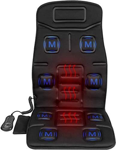 41j Lzj8CIL - Naipo Respaldo de Masaje Cojín Asiento Masajeador Portátil para Toda la Espalda y Cuello con 8 Motores de Vibración 2 Pads de Calor en Coche Casa Oficina